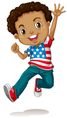 happy teenagers: African american boy jumping illustration Illustration