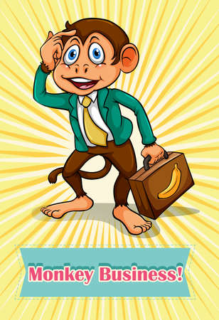 idioms: English saying monkey business illustration Illustration