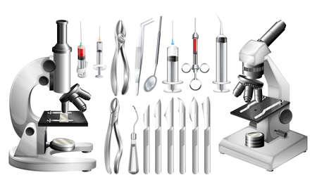 equipos medicos: Diferente médica equipos y herramientas de ilustración