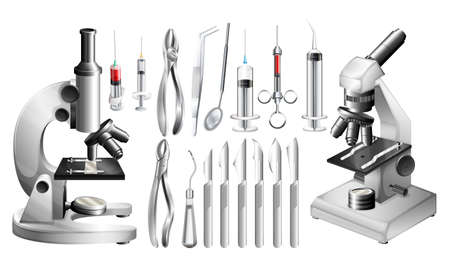 medical drawing: Different medical equipments and tools illustration