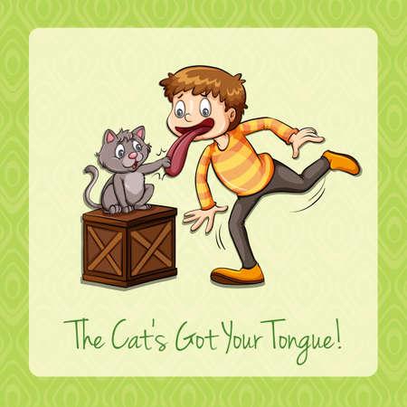 figurative: Idiom cat got your tongue illustration