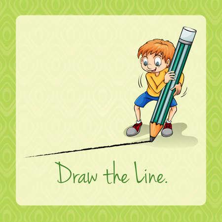 idiom: Idiom draw the line illustration Illustration