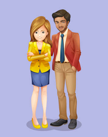 formal dress: Businessman and woman in formal dress illustration