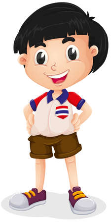 young boy smiling: Little boy wearing shirt and shorts illustration