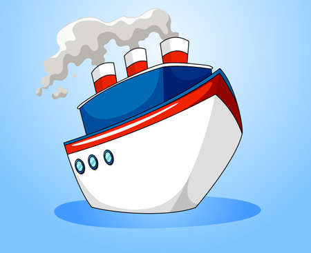 liner: Ocean liner on blue background illustration