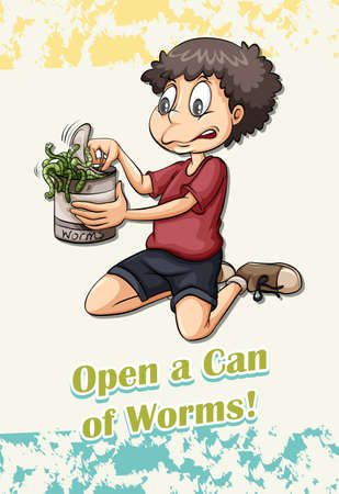 figurative art: Idiom open a can of worms illustration