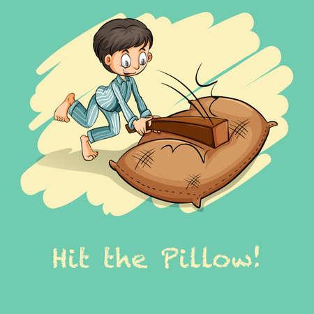 hit: Saying hit the pillow illustration