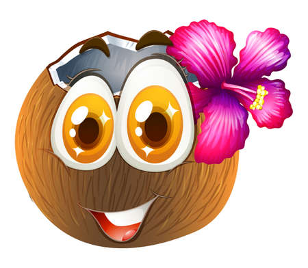 coconut drink: Coconut with happy face illustration Illustration