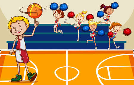 sport cartoon: People playing basketball at court illustration