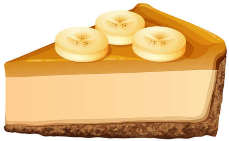 banana: Slice of banana cheesecake illustration Illustration