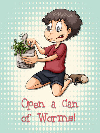 worms: Idiom open a can of worms illustration