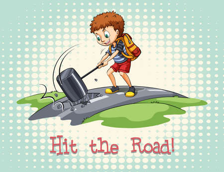 idiom: Idiom hit the road illustration Illustration