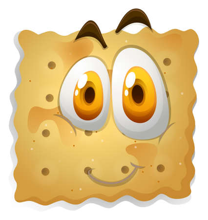 biscuits: Happy face on biscuit illustration