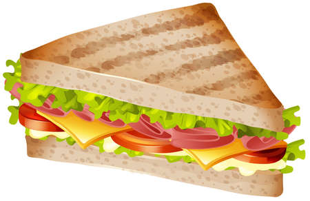 toasted bread: Sandwich with ham and cheese illustration Illustration