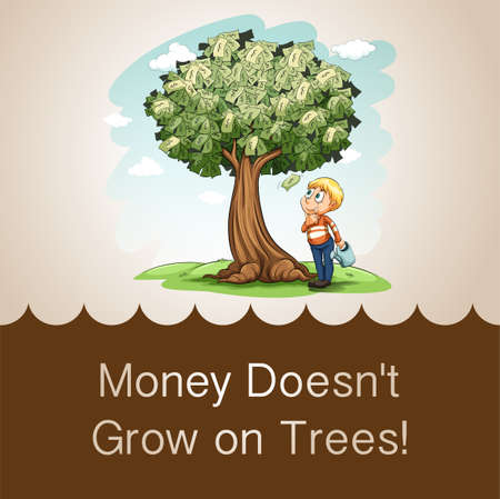 figurative: Money doesnt grow on trees illustration