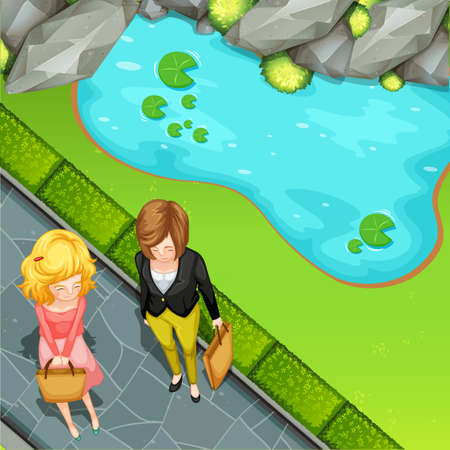 garden pond: Woman standing by the pond illustration