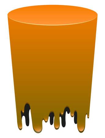 melting: Orange color melting on white illustration