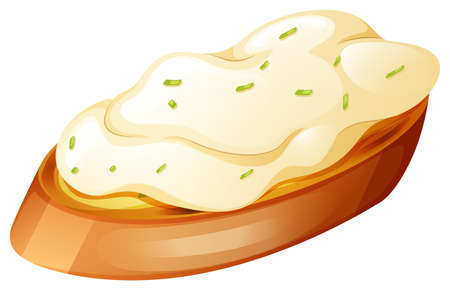 cream cheese: Toasted bread with cream on top illustration
