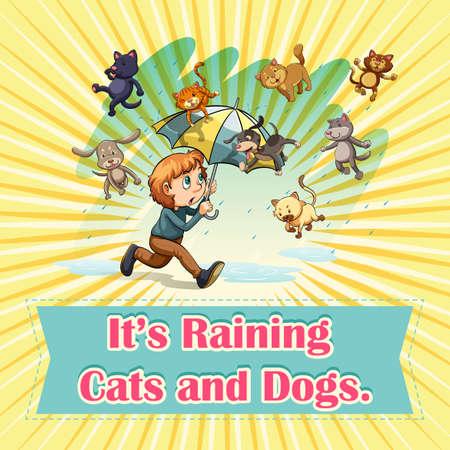 raining: Raining cats and dogs illustration