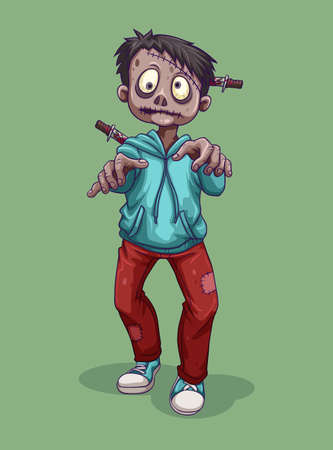 lifeless: Zombie with knife on the head illustration Illustration