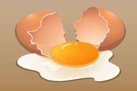 chicken and egg: Cracking the raw egg illustration