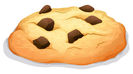 chocolate chip: Chocolate chip cookie on white illustration