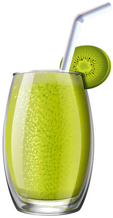 fruit smoothie: Kiwi smoothie in glass illustration