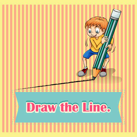 figurative art: Old saying draw the line illustration Illustration