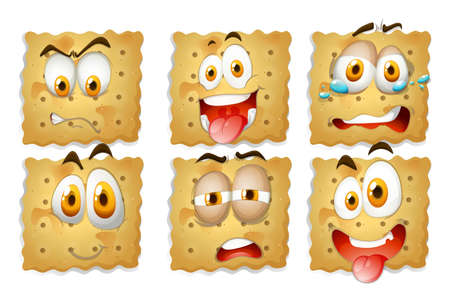 biscuits: Crackers with facial expressions illustration