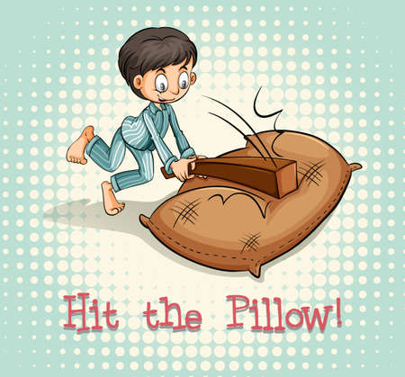 figurative art: Old saying hit the pillow illustration Illustration