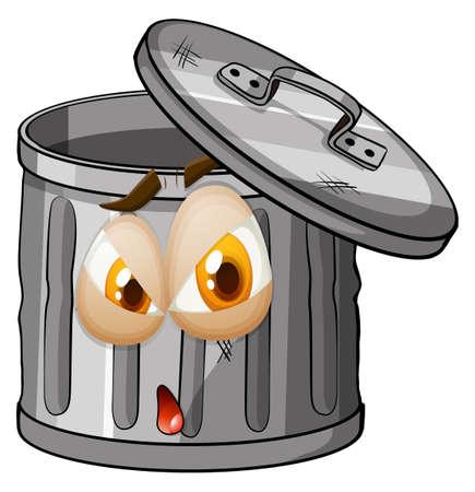 tin: Trashcan with facial expression illustration