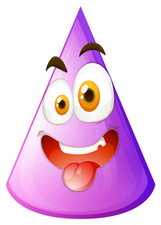 silly: Purple cone with silly face illustration