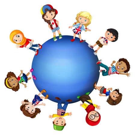 세계 그림 주위에 아이들