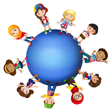 english: Children around the world illustration Illustration