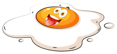 raw egg: Egg yolk with happy face illustration