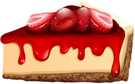 cartoon strawberry: Strawberry cheesecake with jam illustration