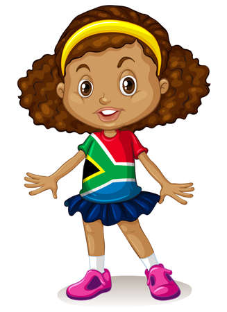 nationalities: South African girl standing alone illustration Illustration