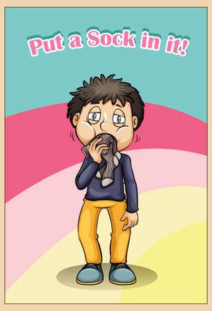 Idiom put a sock in it illustration Illustration