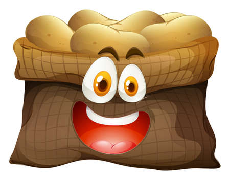 raw material: Bag of potatoes with face illustration