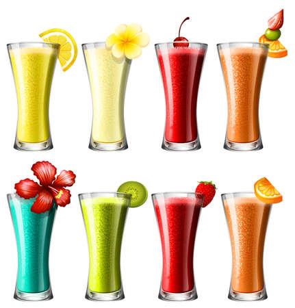 batidos de frutas: Diferentes tipos de cóctel en la ilustración de los vidrios Vectores