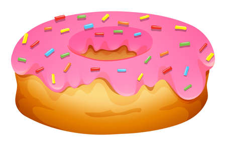 frosting: Doughnut with strawberry frosting illustration