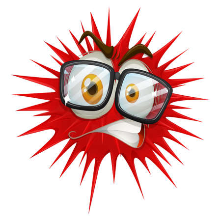 thorny: Red thorny ball with face illustration