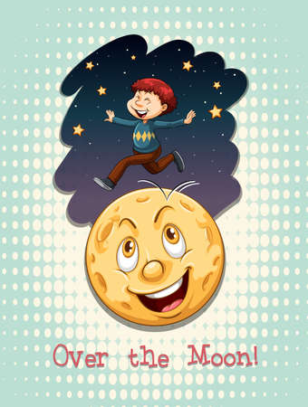 old moon: Old saying over the moon illustration