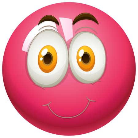 carita feliz: cara feliz en la ilustración de la bola rosada