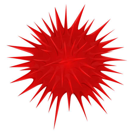 thorny: Red thorny ball on white illustration