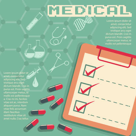 checklist: Infographic with medical symbols and text illustration Illustration