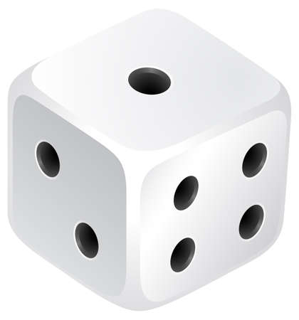 Dice with black dots illustration Vettoriali