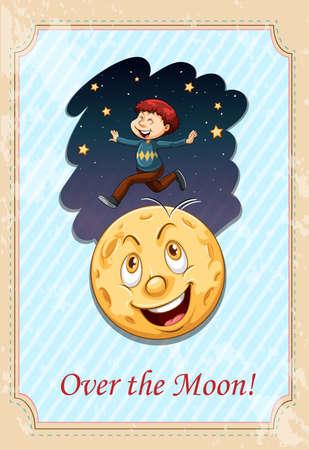 figurative: Idiom over the moon illustration Illustration