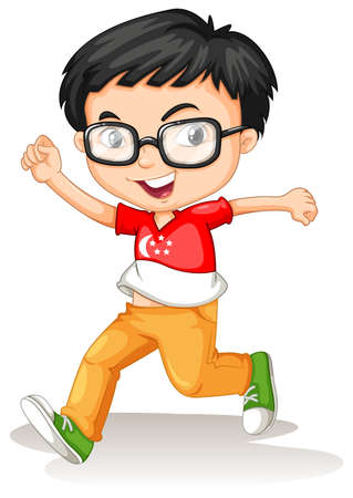 boy with glasses: Singapore boy wearing glasses illustration