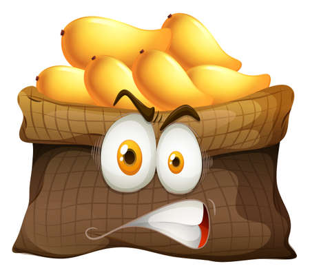 bag cartoon: Mango bag with face illustration